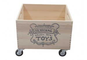 WOODEN STORAGE CRATE ON WHEELS-2